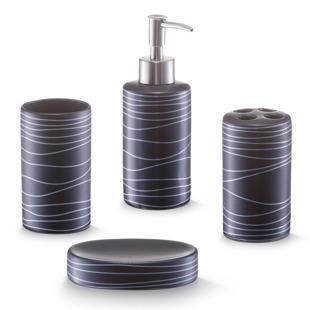 Ceramiczny zestaw akcesoriów łazienkowych BLACK 4 sztuki w komplecie - Emako.pl