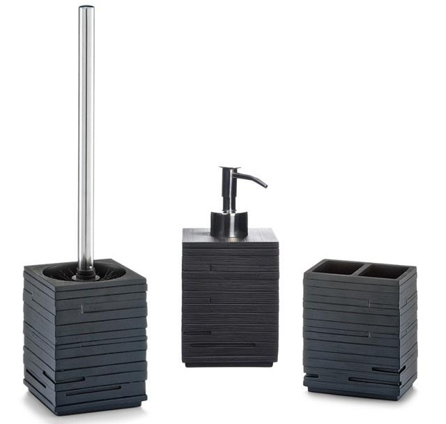 zestaw łazienkowy: dozownik do mydła, pojemnik na szczoteczki do zębów, szczotka do wc