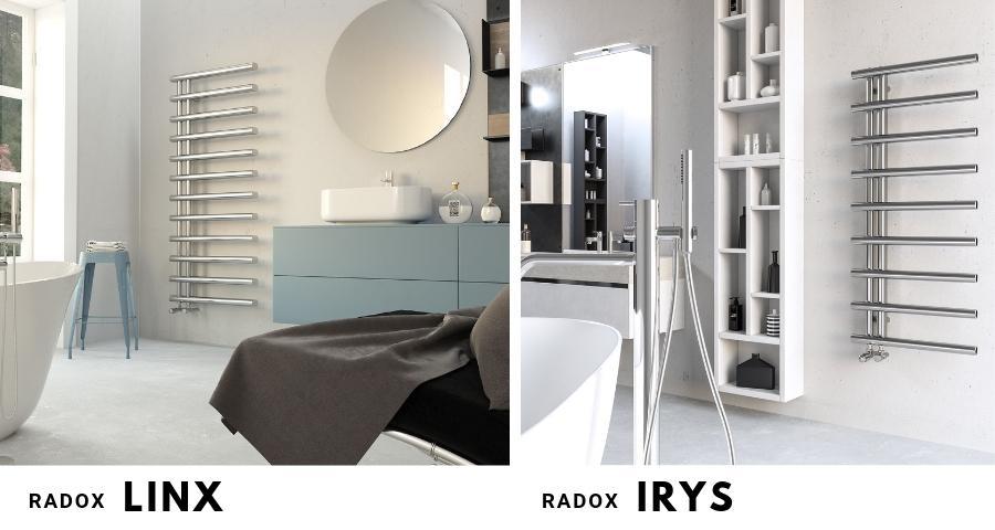 Grzejniki łazienkowe chromowane Radox Linx i Radox Irys, z masywnymi elementami grzewczymi