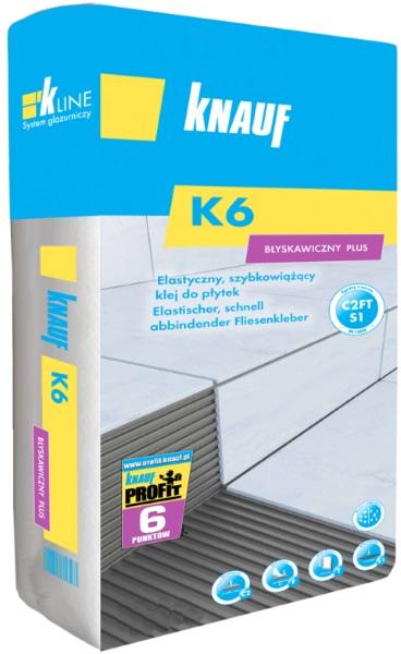 Knauf Bauprodukte Polska - Knauf K6 Błyskawiczny Plus (C2FTS1) - Elastyczny szybkowiążący klej do płytek