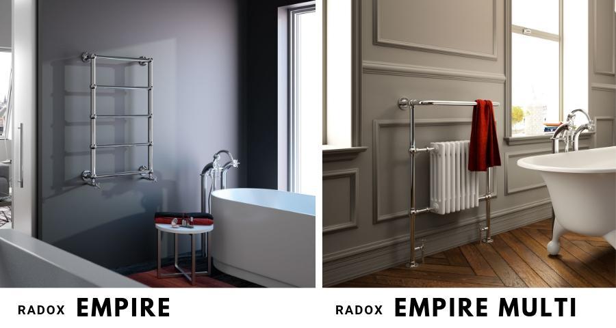 Klasyczne grzejniki w stylu retro Radox Empire i Radox Empire Multi, wspaniale wykańczają eleganckie łazienki