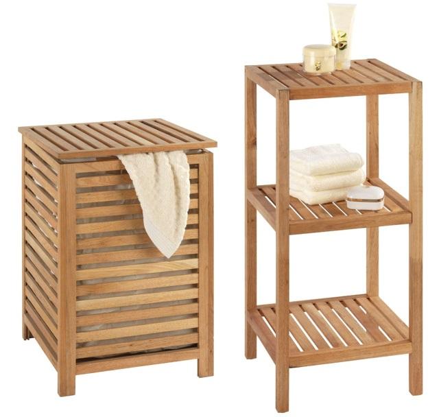Kosz na pranie, ubrania 3-poziomowy regał łazienkowy NORWAY zestaw WENKO