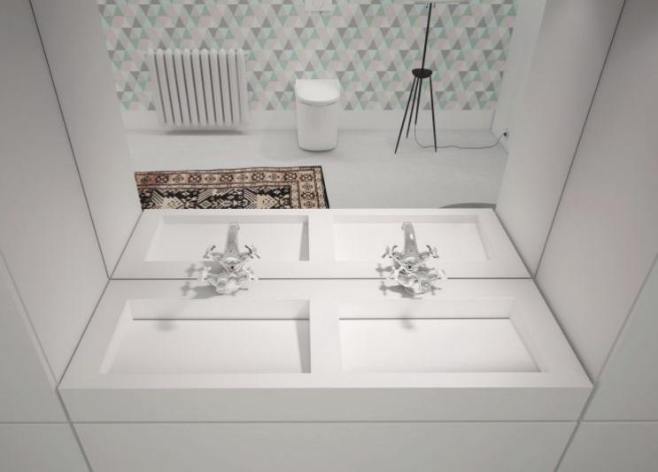 Cristalstone - umywalka z odpływem liniowym połączona z blatem Linea Ideal