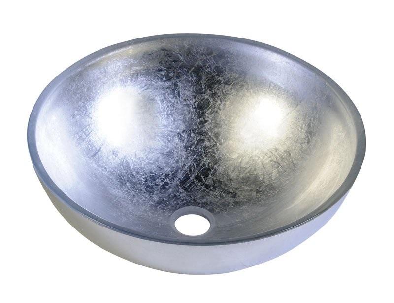MURANO ARGENTO umywalka szklana okrągła srebrna - Sapho