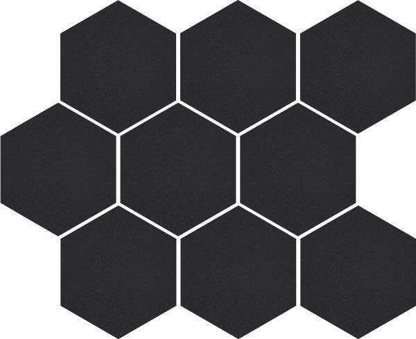 Mozaika heksagon Cambia black lappato