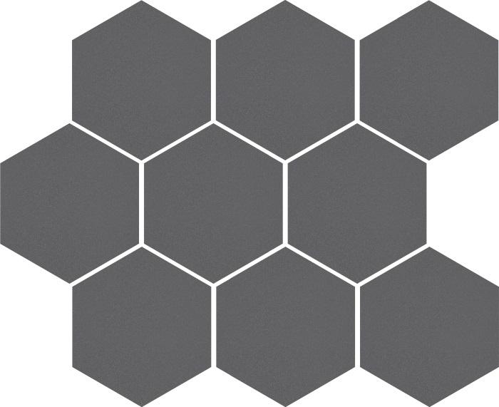 Mozaika heksagon Cambia grafit lappato