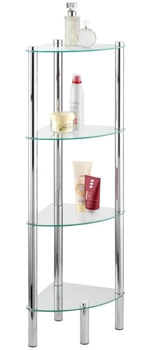 Narożna półka łazienkowa YAGO, szklana - 4 poziomy, WENKO