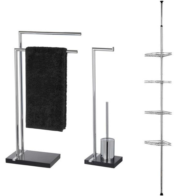 Narożna teleskopowa półka-stojak na ręczniki, papier toaletowy i szczotkę do wc NOBLE_BLACK - zestaw WENKO