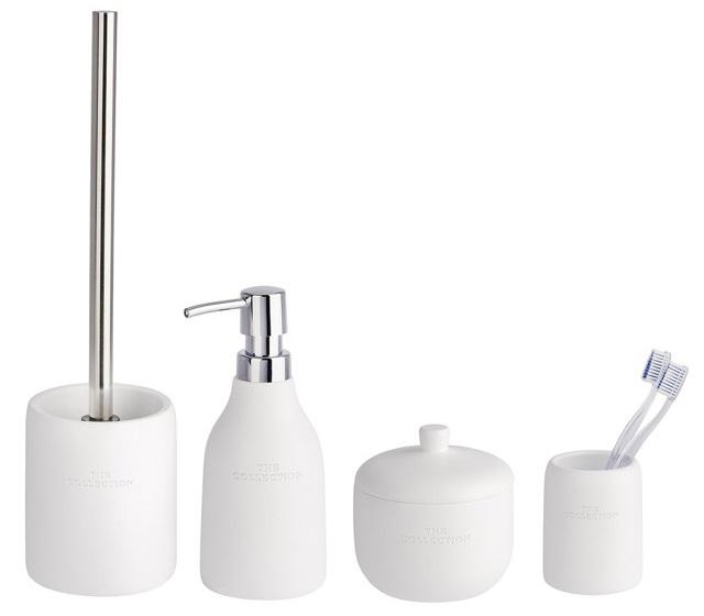 Pojemnik na szczoteczki, dozownik do mydła, szczotka wc, pojemnik uniwersalny COLLECTION WHITE - zestaw WENKO