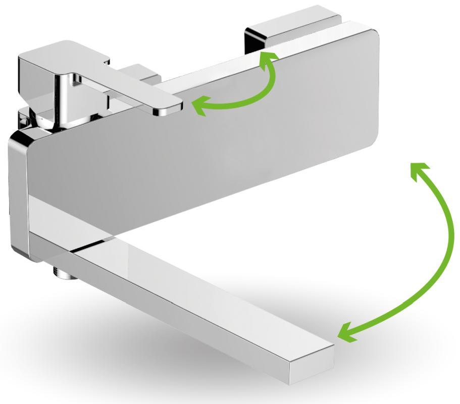 Laveo - Revelo bateria wannowa ścienna z ruchomą wylewką bez zestawu natryskowego