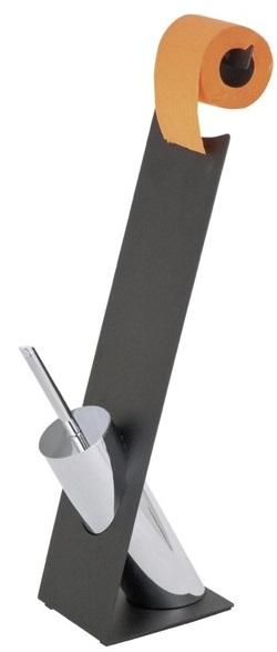 Stojak na papier toaletowy i szczotkę do WC Miramar Black WENKO