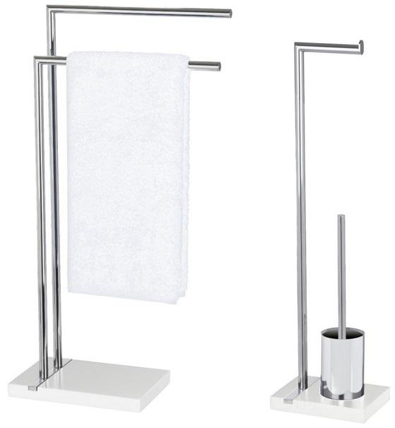 Stojak na ręczniki, papier toaletowy i szczotkę do wc NOBLE WHITE - zestaw WENKO