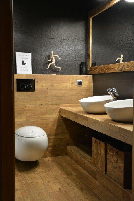 aranżacja łazienki - grafit + drewno