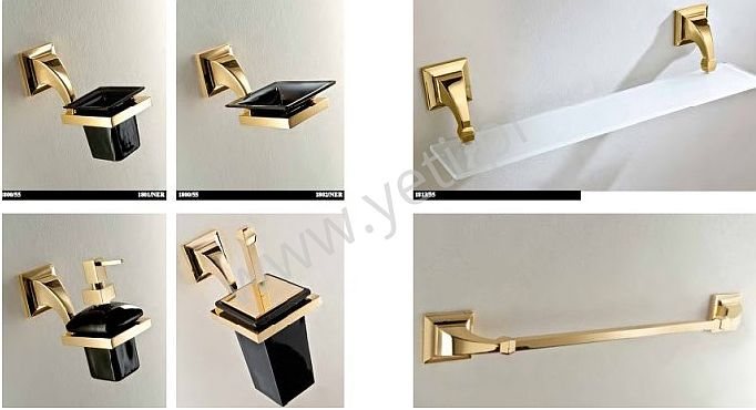 Akcesoria łazienkowe czarno-złote