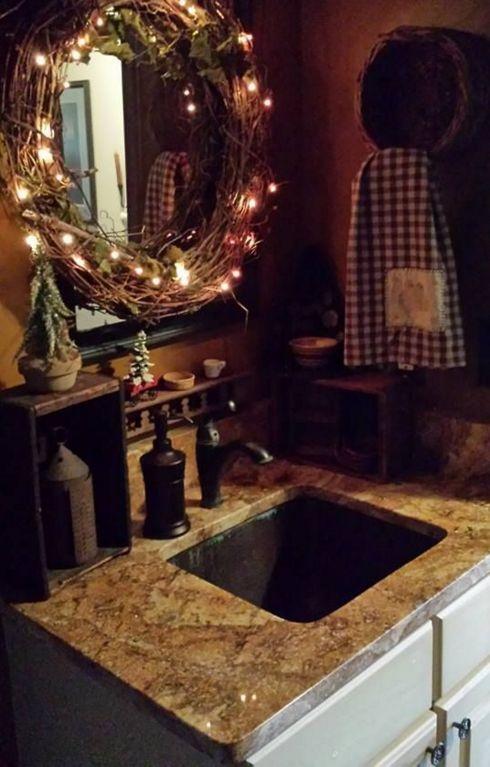 Świątecznie w łazience - ozdoby wokół lustra