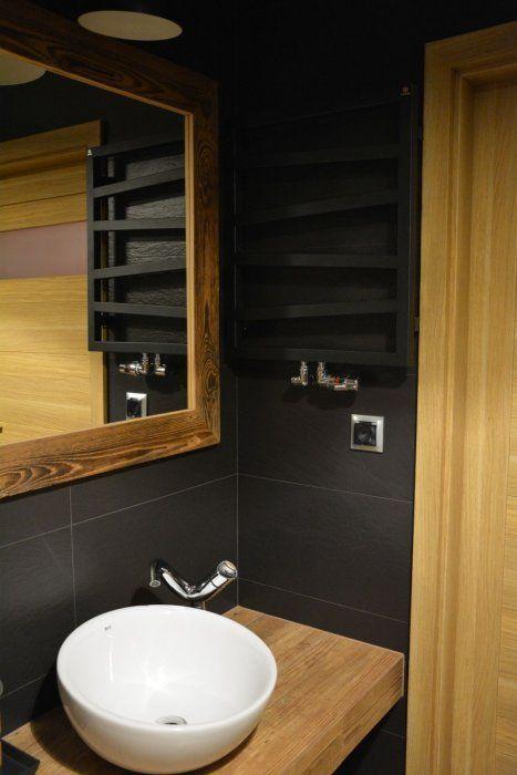 łazienka - grafit + drewno