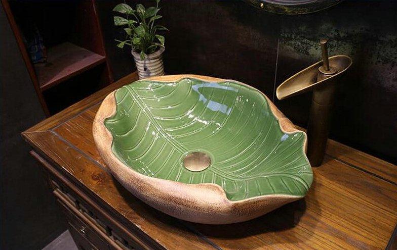 Artystyczna umywalka w kształcie liścia