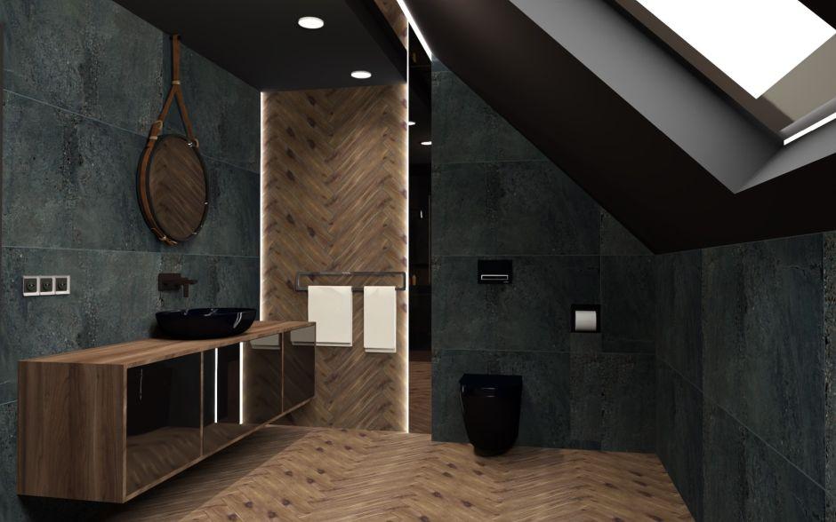 Klasyczna jodełka w łazience - płytki deski