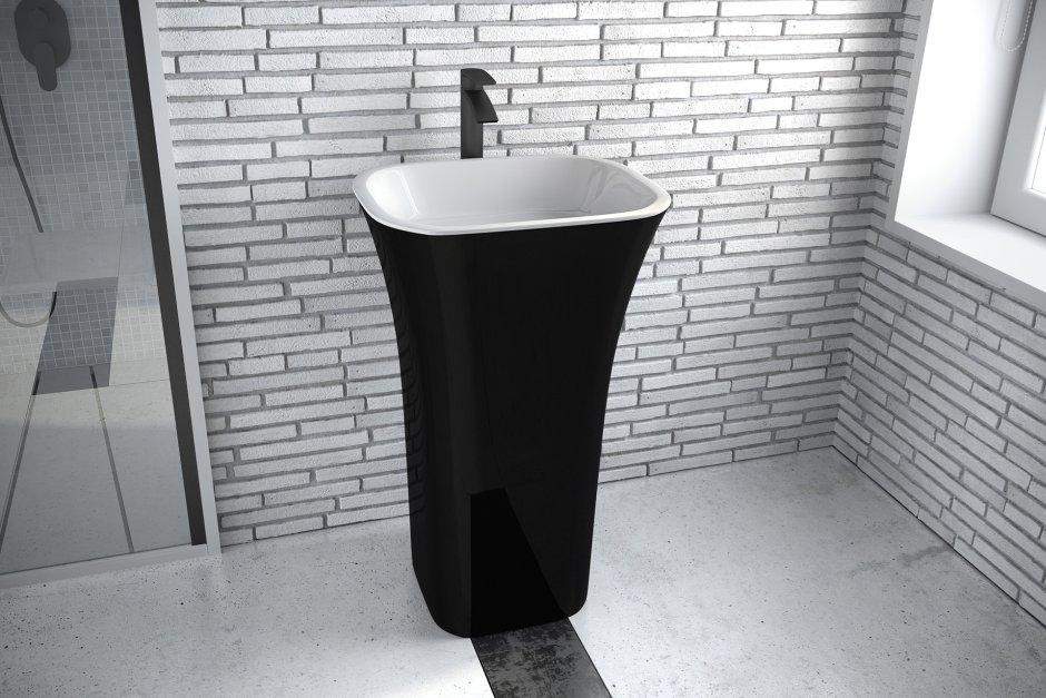 Czarna umywalka wolnostojąca