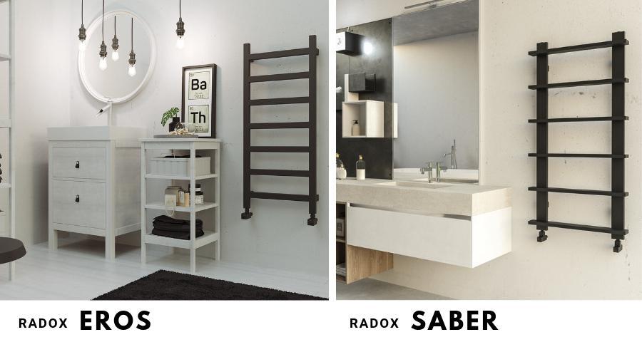 Nowoczesne, czarne grzejniki łazienkowe typu drabinkowego: Radox Eros i Radox Saber