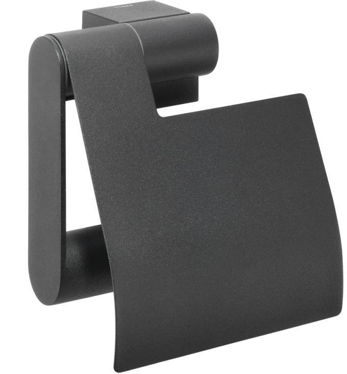 Czarny wieszak na papier toaletowy