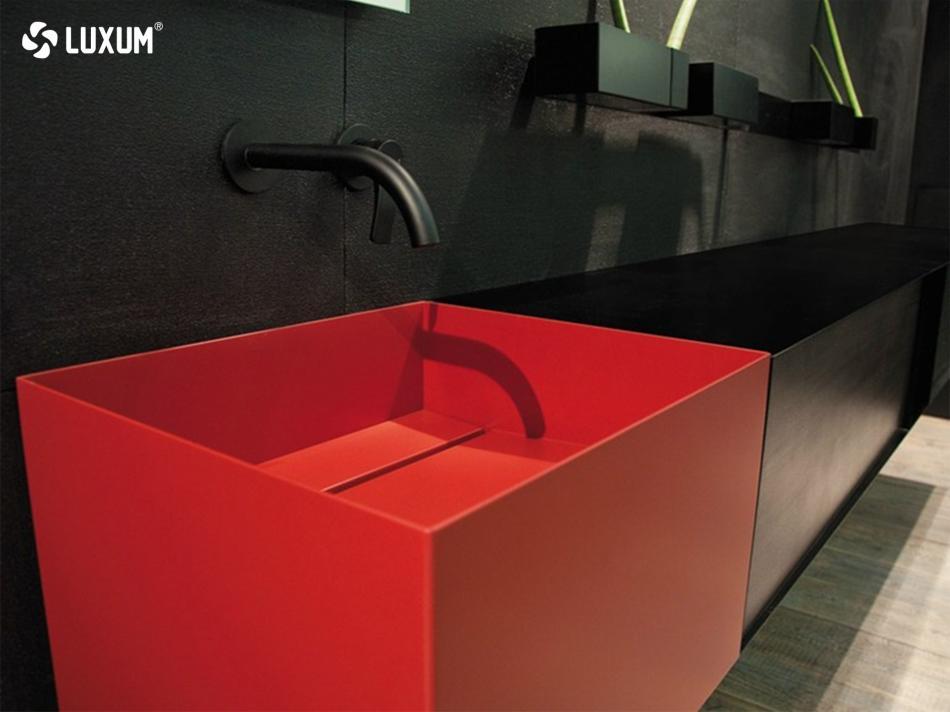 czerwona umywalka Luxum