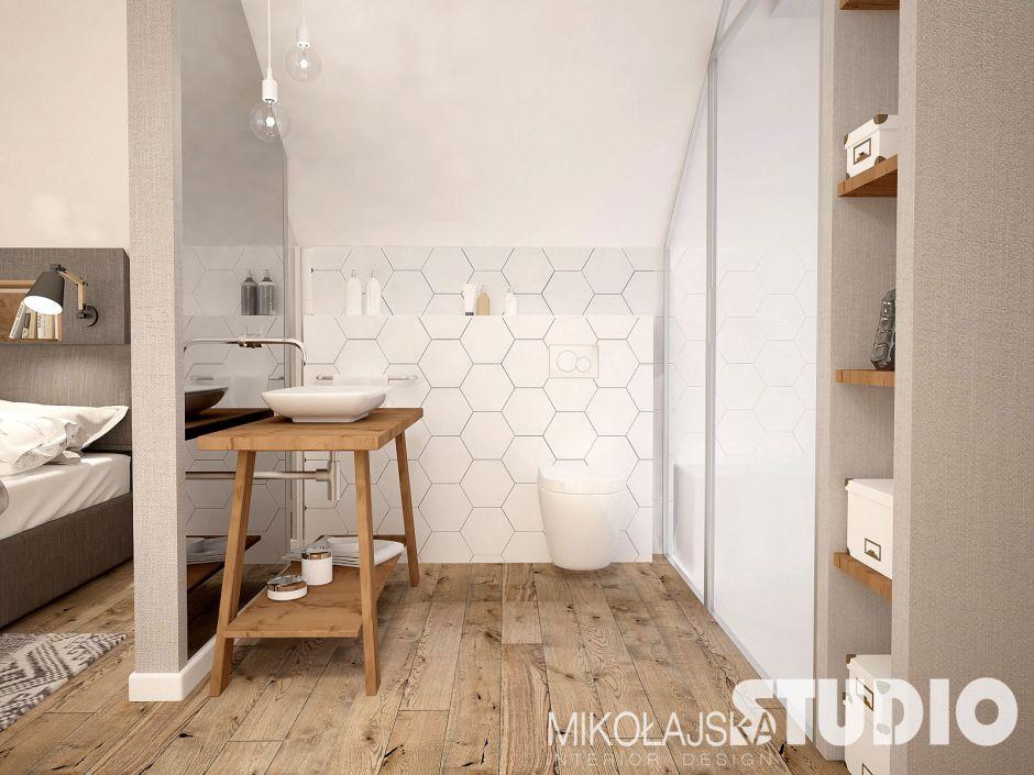 Nowoczesna łazienka przy sypialni - konsola pod zlewem