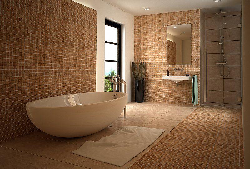 Drewniana mozaika na ścianie w łazience