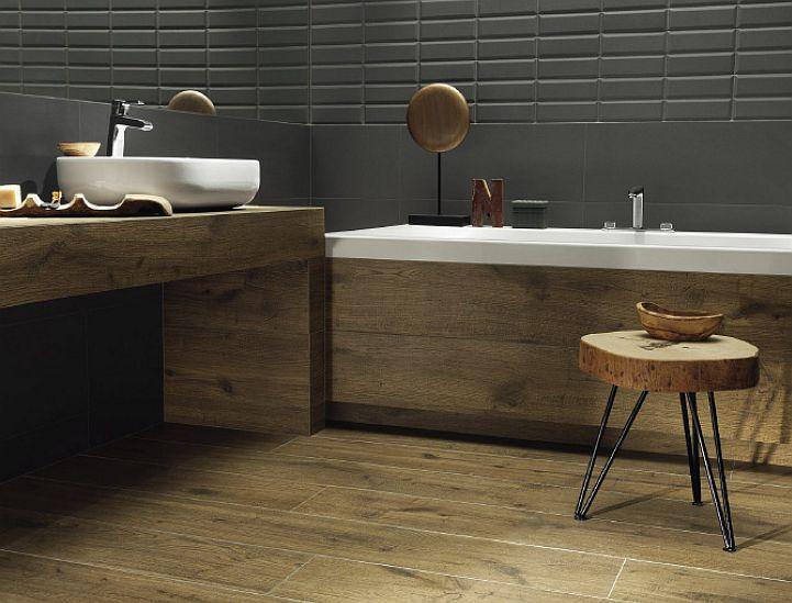 Łazienka otulona drewnem - płytki Korzilius