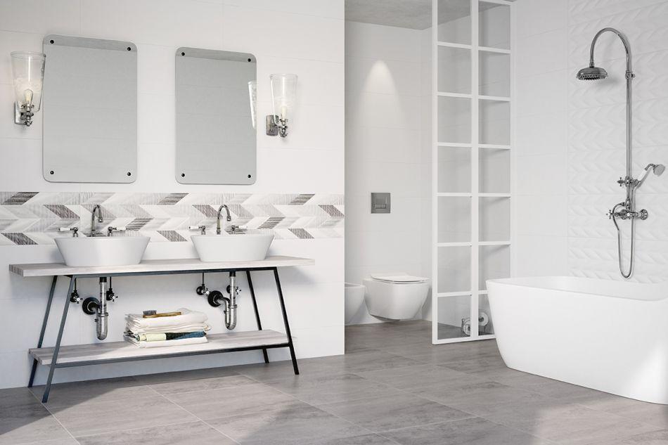 Aranżacja łazienki z konsolą pod umywalką