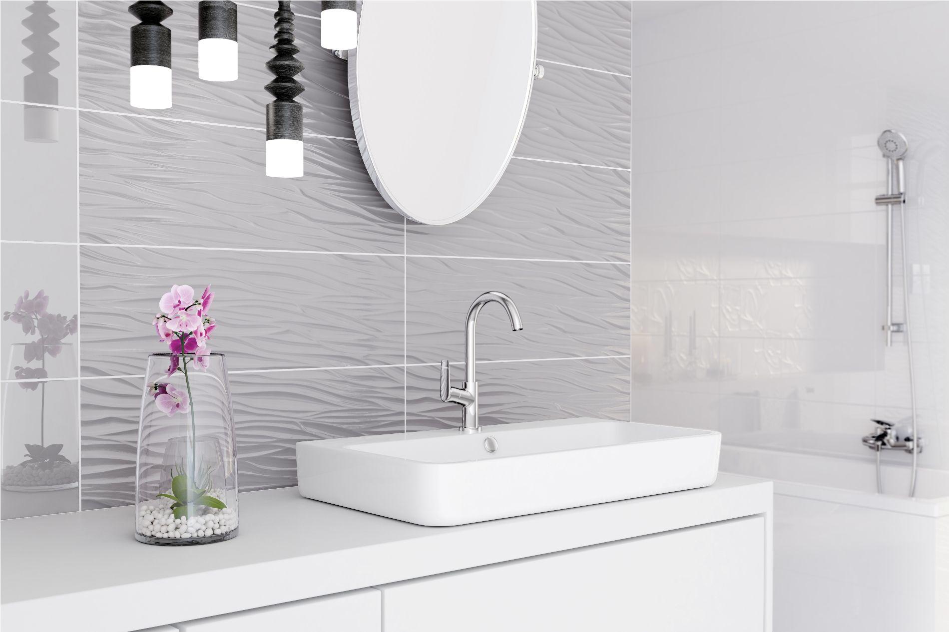 Jasna Nowoczesna łazienka Z Efektem Głębi Podłogi I ściany