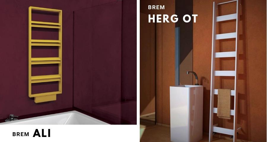 grzejnik łazienkowy Brem Ali i grzejnik w formie drabiny w stylu skandynawskim Brem Herg Ot
