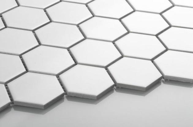 Hexagon duży biały matowy