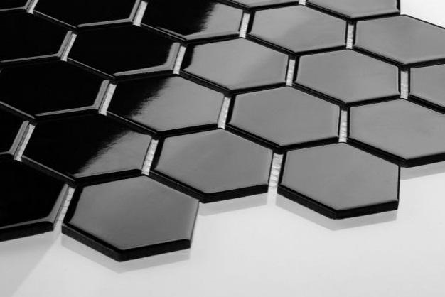 Hexagon duży czarny szkliwiony