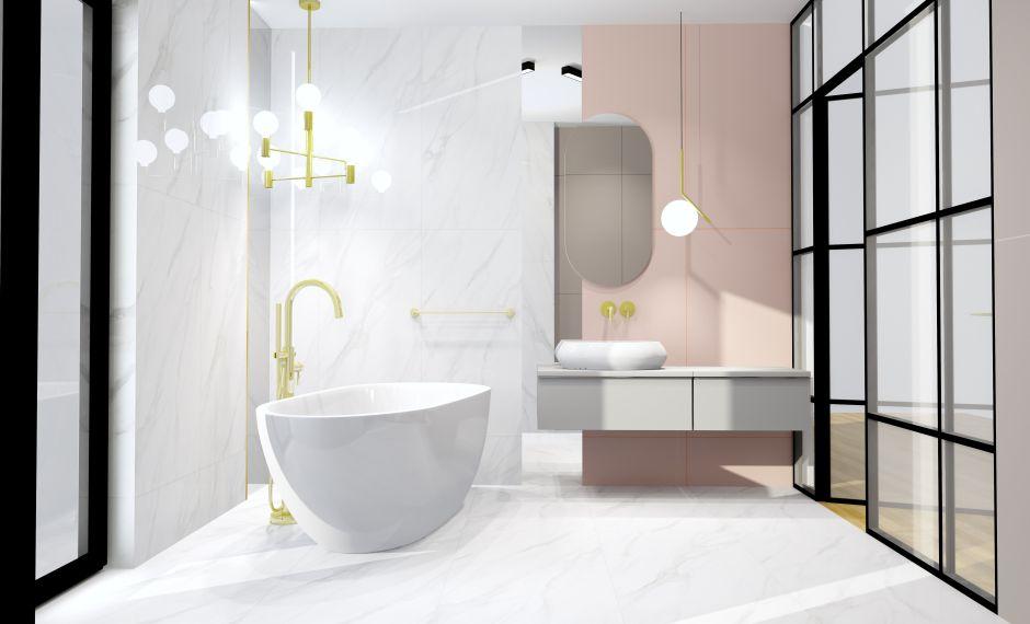 Marmur i złoto w łazience - sposoby na ocieplenie aranżacji