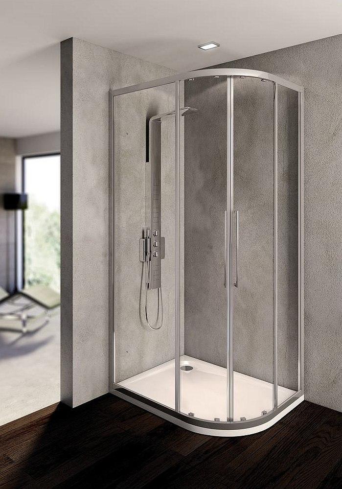 Kubo - asymetryczna kabina prysznicowa półokrągła