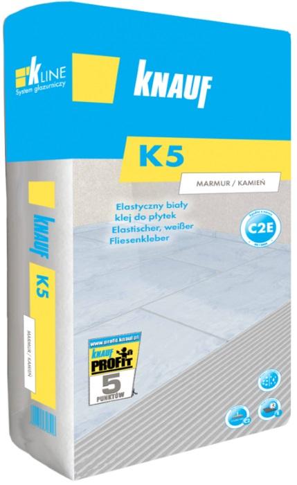 K5 Knauf Marmur/Kamień - Elastyczny, biały klej do płytek C2E