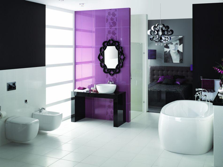 Płytki łazienkowe w kolorze fioletu