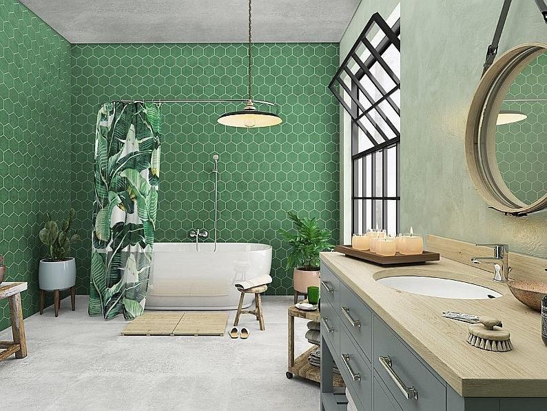 Ciemna zieleń w łazience