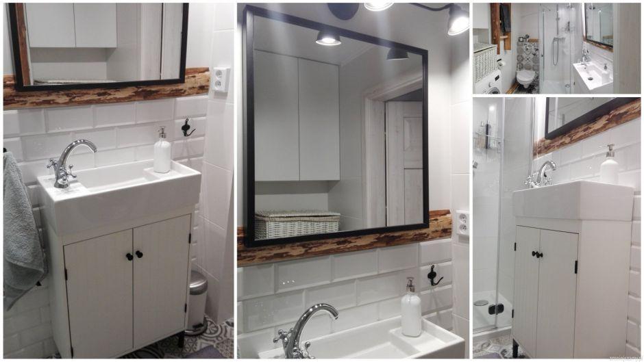 Łazienka w bieli z drewnianymi akcentami