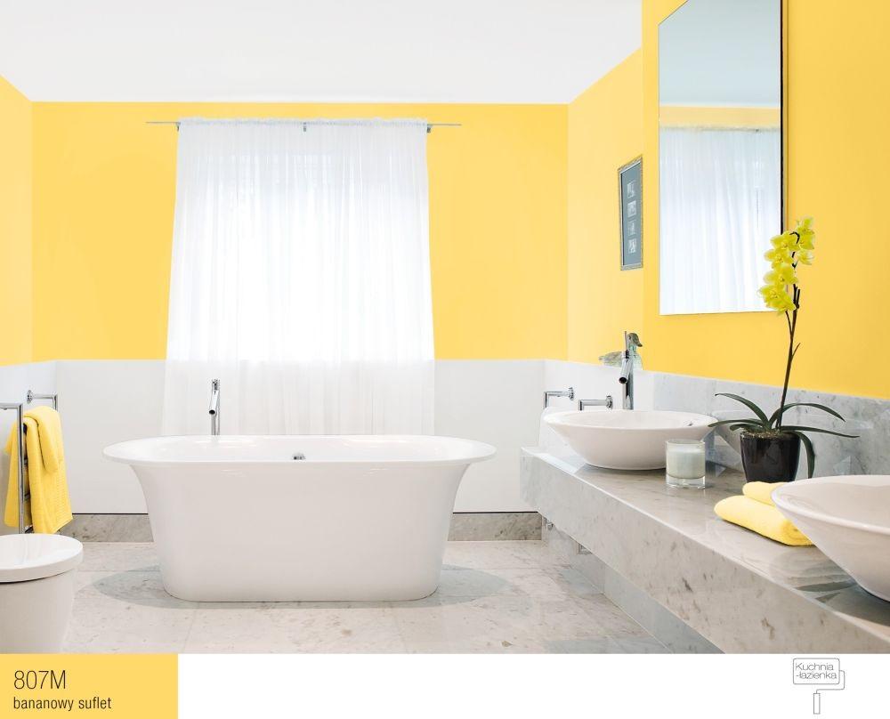 łazienka z żółtymi, bananowymi ścianami