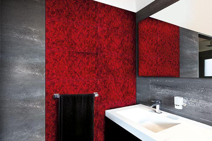 Eksplozja barw w łazience - gradacje z mozaiki w kolorze czerwonym