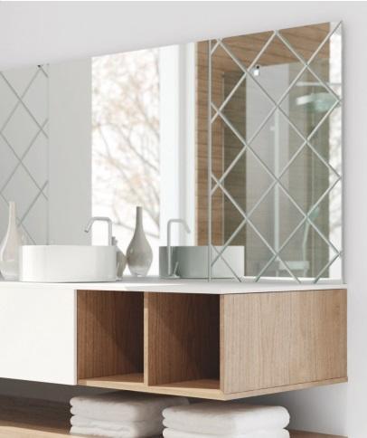 lustro łazienkowe ze szklaną ramą - grawer