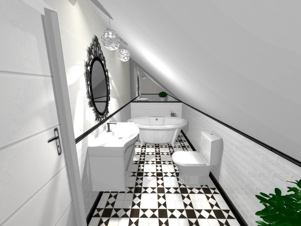 mała, wąska łazienka na poddaszu z geometryczną podłogą
