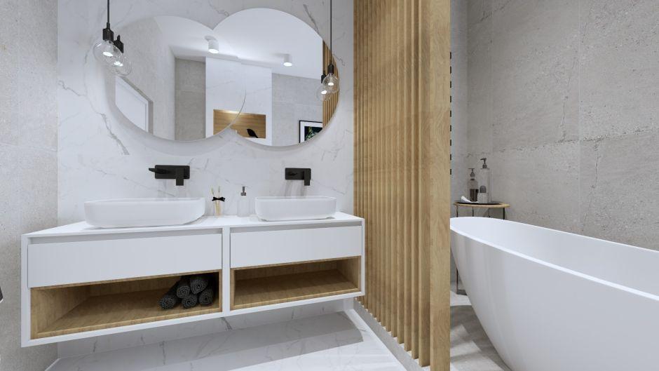 Marmur i drewno - jak ocieplić aranżację łazienki