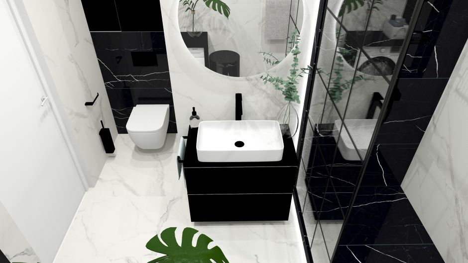 Pomysły na jasny i ciemny marmur w łazience