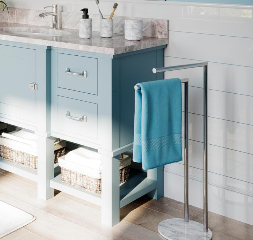 Dodatki łazienkowe imitujące marmur