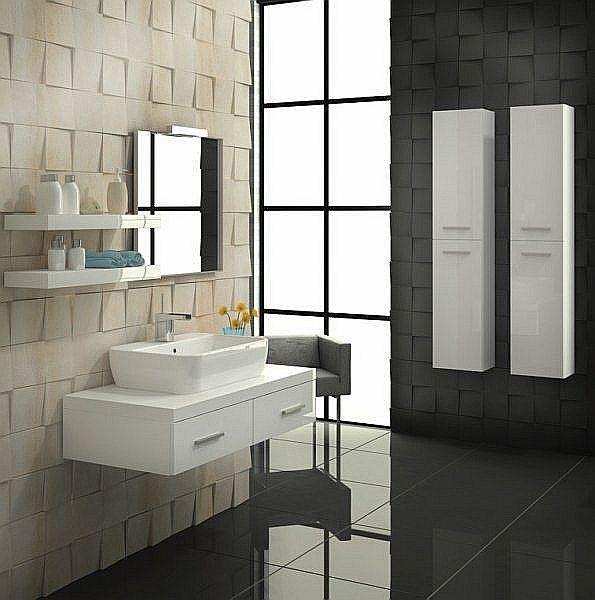 Asymetryczne meble łazienkowe z kolekcji KWADRO