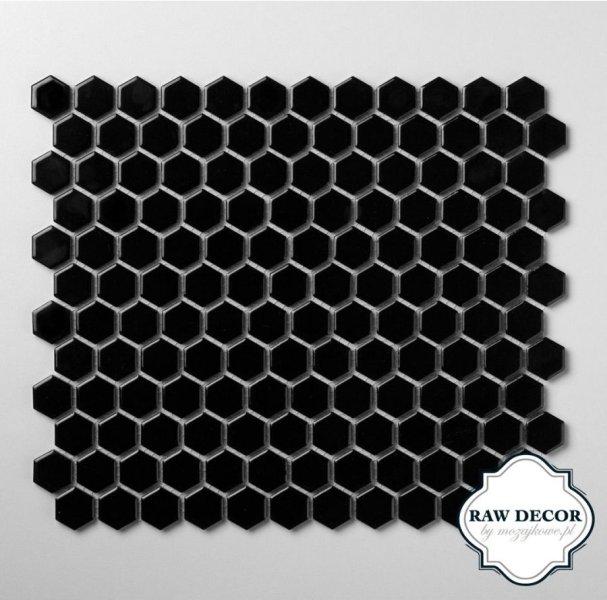 Mozaika hexagon czarny szkliwiony Mozaikowe.pl