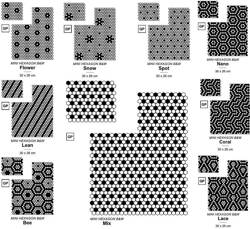 Czarno-białe wzory z mozaiką Hexagonic